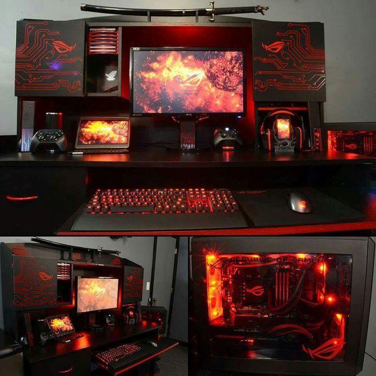 Futuristic red black computer desk setup http://amzn.to/2ldYdqf