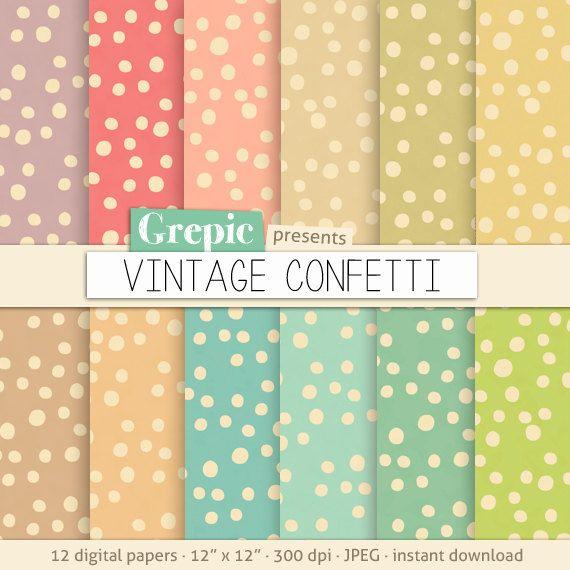 Confetti digital paper VINTAGE CONFETTI polkadots by Grepic, $4.80