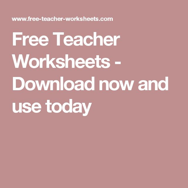 Free Teacher Worksheets - Download now and use today