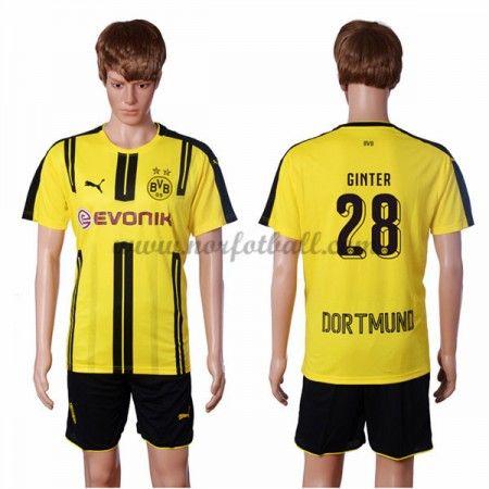 Billige Fotballdrakter BVB Borussia Dortmund 2016-17 Ginter 28 Hjemme Draktsett Kortermet