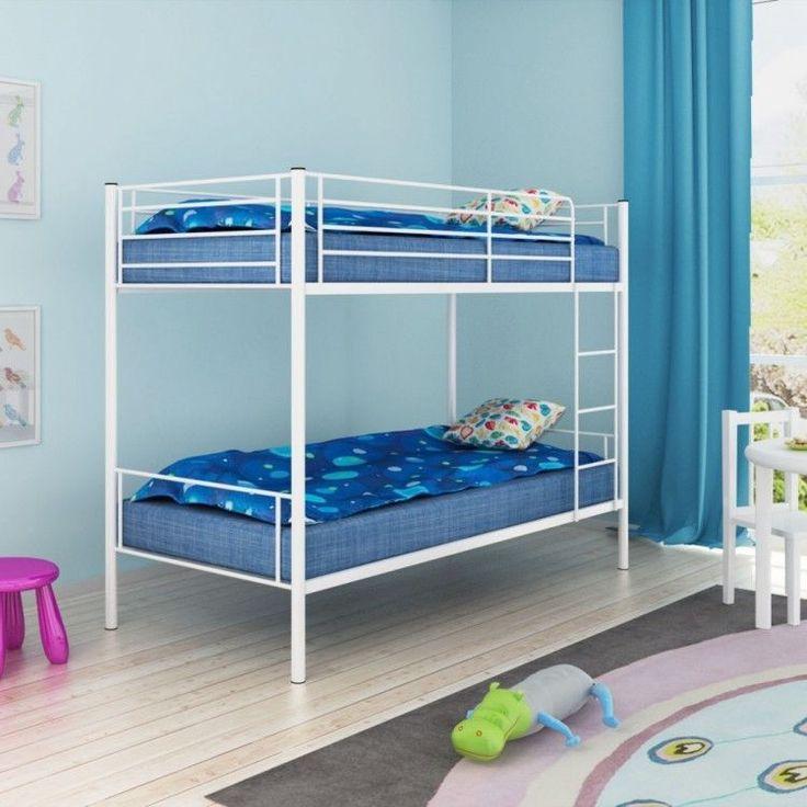 Childrens Bunk Bed Frame Metal White Ladder Bedroom Furniture Home Safety Rails #ChildrensBunkBedFrame