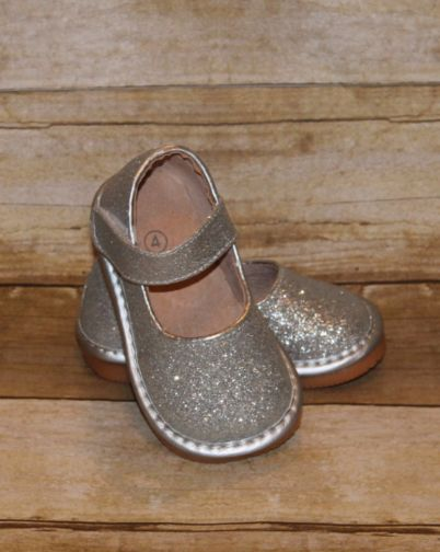 Girls squeaky shoes - SILVER sparkly squeakers - velcro strap boutique