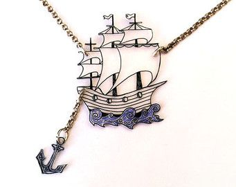 Ship & Anchor -- Two Parts -- Clear Pendant Necklace, Shrink Plastic Jewelry --- Gift box included