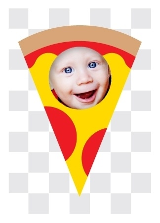 Pizza party! And it's never looked better than this slice with your little party animal front and center. Get it while it's hot!