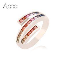 A & N zafiro rubí turquesa Topaz de compromiso anillo del partido con 925 mujeres anillo infinito con platino verdadero plateado(China (Mainland))
