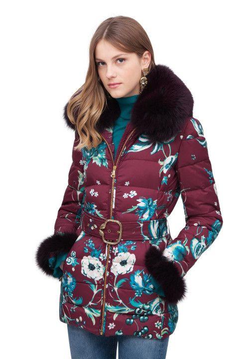 Forbidden Fruit Puffer Coat with Snake Buckle Belt Ready to Wear Roberto Cavalli