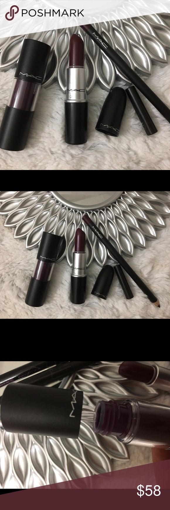 """💯✨Mac x3 bundle!Versicolor /vino lipliner/hangup New Mac bold lip bundle versicolor lip stain longwear in shade """"perpetual holiday """" Bnib /vino lipliner bnnb / hangup lipstick nnt from pro kit shaved and sprayed with oshe medical grade spray never used . Refer to pictures nobreturns on makeup listings ) please !Offer or bundle for deal ! I'm a top trusted 5✨rated makeup seller ! 400 + love notes 19k follwers 🎉✨I  also send juicy gifts ! And package professionally ! Offer or bundle and I…"""