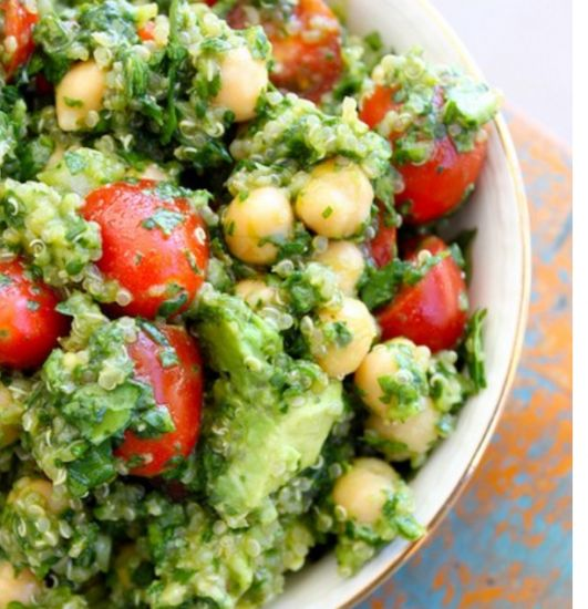 Spinach, Avocado and Chick Pea Quinoa Healthy Recipe by Ariella Fallack