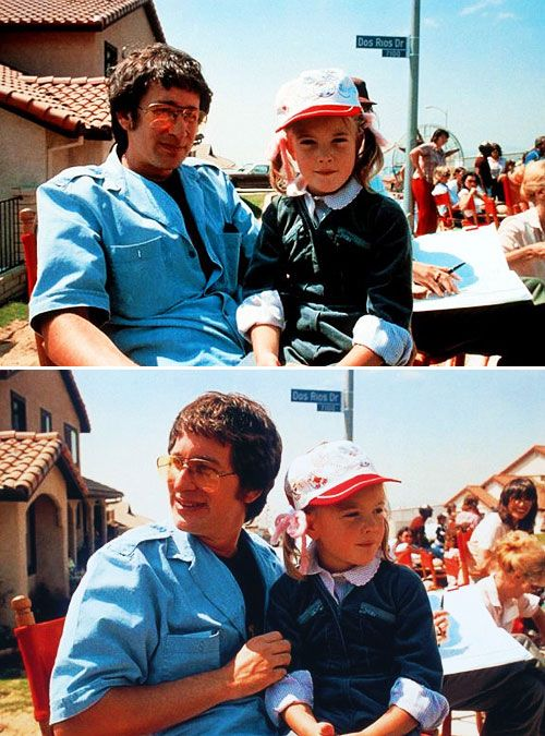 Steven Spielberg and Drew Barrymore on the set of E.T. in 1982.