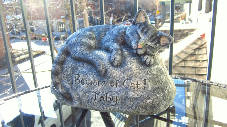 Ceramic Engraved/Customized Painted Cat Garden Decoratopm - Beware of Cat- hand made, customized, indoor or outdoor. $50.00, via Etsy.