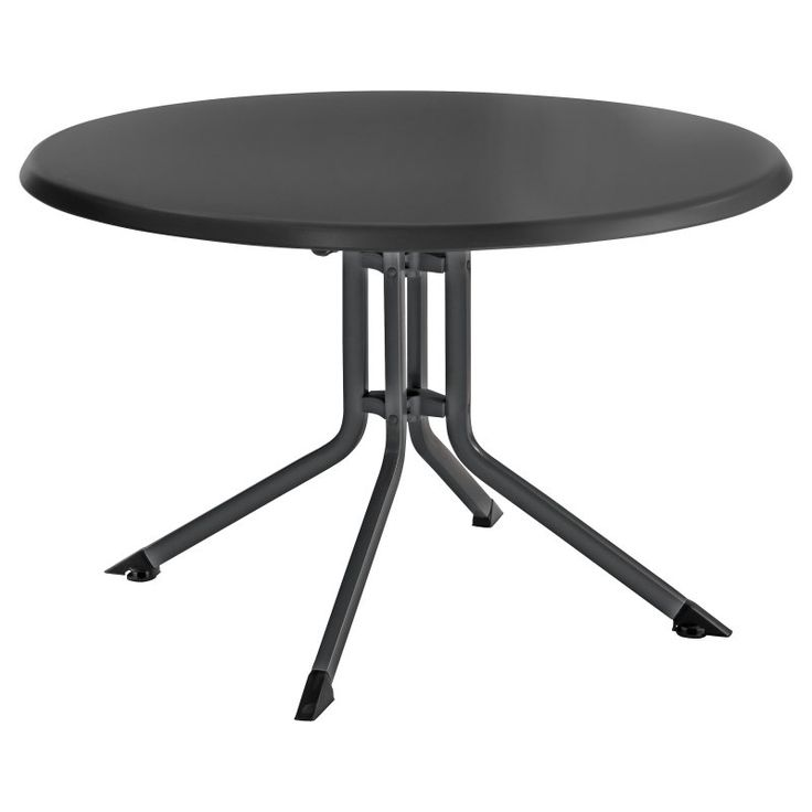 Kettler 46 in. Round Folding Table Gray Frame with Gray Top