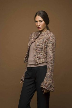 crochet short jacket pattern. think my 14 yr old granddaughter would like this in PINK!