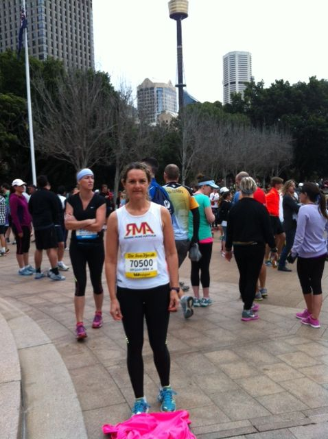 Me in my SKINS before the start of the City 2 Surf- my first one!