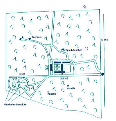 """Map of the Schloss Wolfgarten  estate.   """"AL"""""""