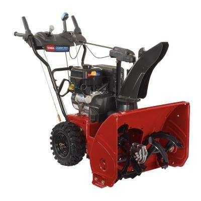 Toro Power Max 824 OE 24 in. Two-Stage Electric Start Gas Snow Blower Finally an easy to use 2-stage snow blower - the Power Max 824 OE 2-Stage Snow blower has many features to make your snow clearing job easy and yet is built tough to give you years of dependable performance Dimensions Assembled Depth (in.) 56 in Assembled Height (in.) 43.5 in Assembled Width (in.) 25.8 in Auger diameter (in.) 11 Clearing Width (In.) 24 in Ideal Snow Depth (In.) 20 Impeller diameter (in.) 11