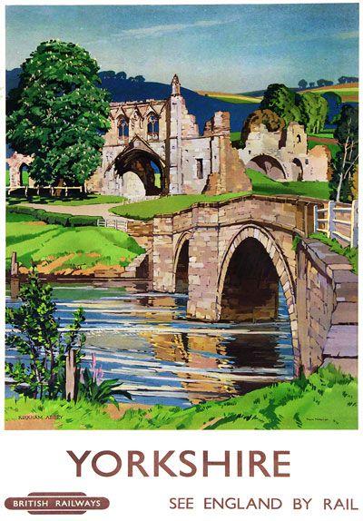 """Historic railway poster. It says """"Kirkham Abbey""""."""
