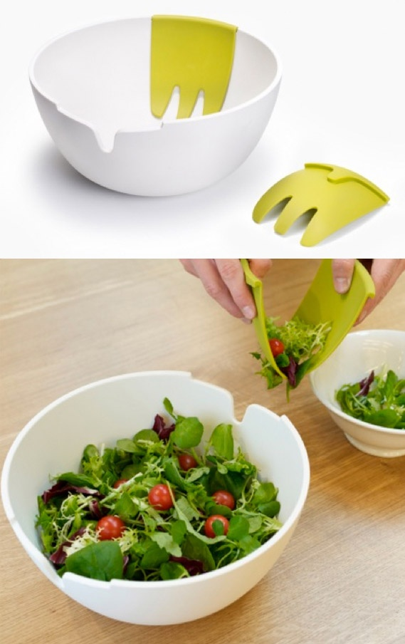 Salad bowl server in one clever design gadgets de for Gadget cuisine design