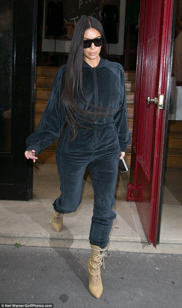 Velourious:Kim Kardashian enjoyed a rare day off on Saturday when she indulged in a spot of shopping in the city centre while looking incredibly low-key in a sports luxe ensemble