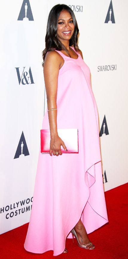 Chic Celebrity Maternity Style - Zoe Saldana, October 2014 from #InStyle