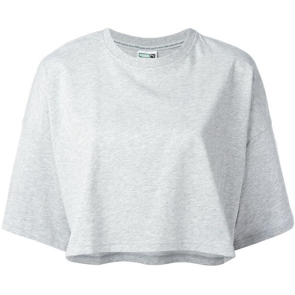 Puma cropped logo T-shirt found on Polyvore featuring tops, t-shirts, crop top, grey, grey top, grey tee, puma top and crop t shirt