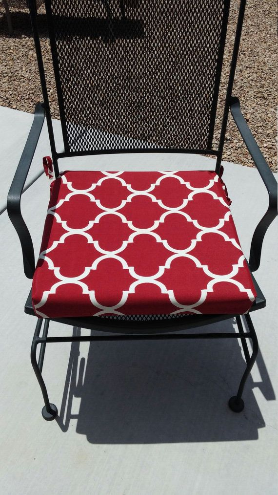 Items Similar To Red And White Geometric Fabric Custom Chair Cushion Cover Washable Removable On Etsy