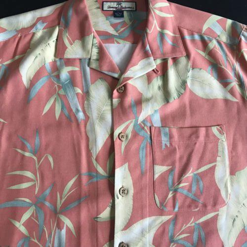 Tommy-Bahama-Floral-Silk-Shirt-Mens-L-Hawaiian-Salmon-Bamboo-Leaf-Graphic