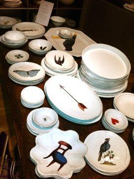 Porcelain plates designed by John Derian in conjunction with the fabulous French porcelain company, Astier de Villette.