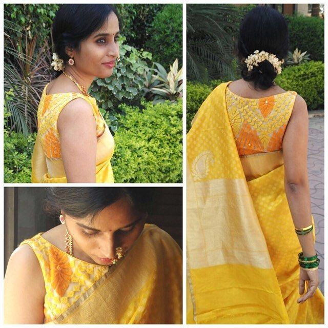 Our beautiful customer Jahnavee, effortlessly carries off the tone on tone look! Wearing our popular yellow threadwork boatneck blouse paired with a lovely yellow saree #houseofblousedotcom #readytoshop #blouse #yellowthreadwork #boatneck
