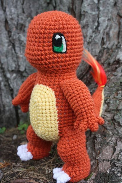 """Charmander - Pokemon Character - Free Amigurumi Pattern - PDF Format - Click to """"download"""" here: http://www.ravelry.com/patterns/library/charmander-doll"""