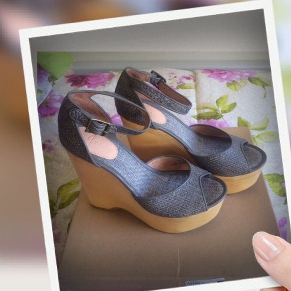 Joie Weber Platform Wedge Sandals Dove Grey Woven Raffia Platform Wedges New with box Heel Height is 5 1/2 Inches Platform Height is 2 Inches Buckle Closure Textile/Leather/Man Made Material  Woven Fabric Bundle for discounts! Reasonable offers considered. Thank you for shopping my closet! Joie Shoes Sandals