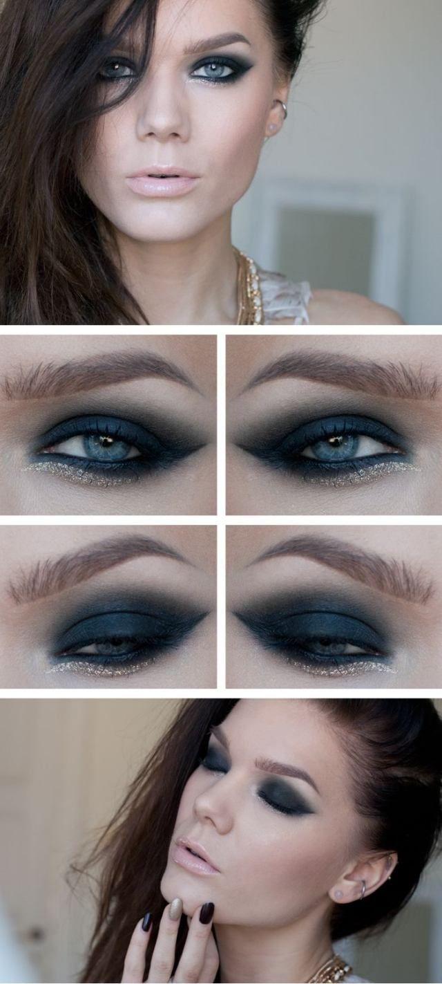 maquillage smokey eye noir aux accents de couleur or