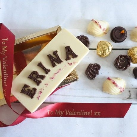 Personalised Chocolate Name Card & Assorted Luxury Organic Chocolate Box (Soya & Gluten Free)