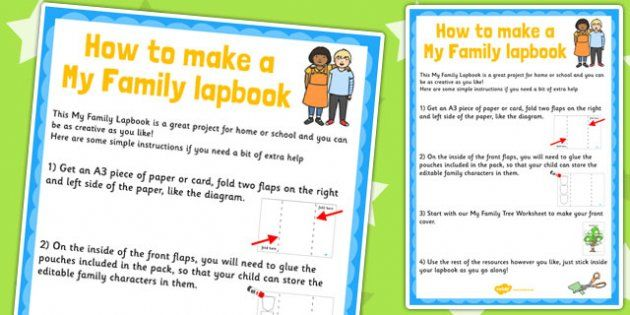 * NEW * My Family Lapbook Instructions Sheet