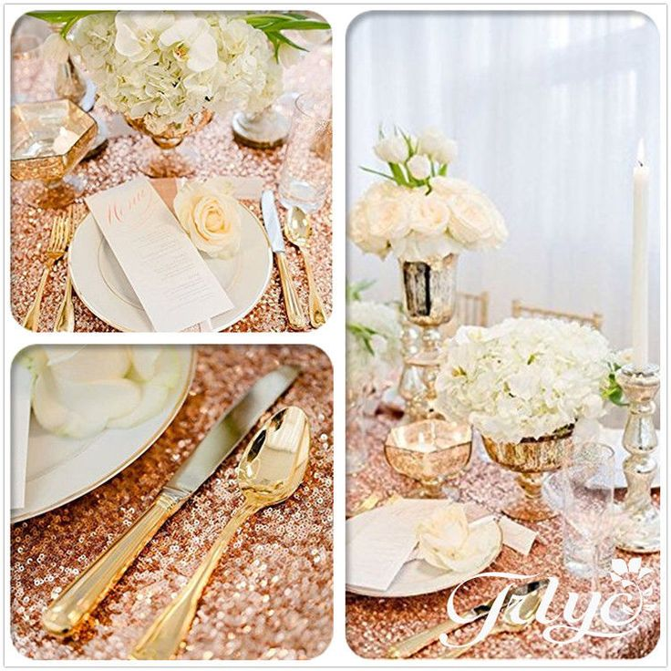 Hot Sale Sparkly 120*180 Rose Gold Sequin Tablecloth For Wedding/Event/Party