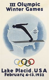 GORDON, WITOLD (1855-1968)   III WINTER OLYMPIC GAMES, LAKE PLACID, USA, 1932   lithograph in colours, 1932