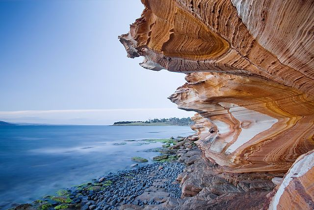 The Painted Cliffs, in the Maria Island National Park, Maria Island, Tasmania, Australia.