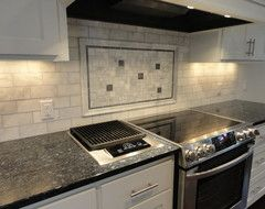 What's the name of the grey subway tiles with the blue pearl granite