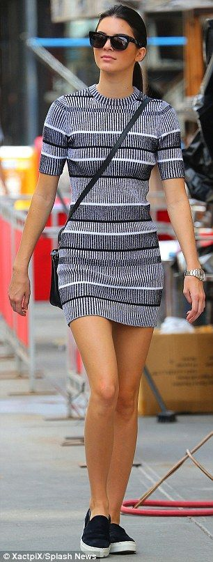 Kendall Jenner: The model paired her mini dress with matching black and white slip-on shoes