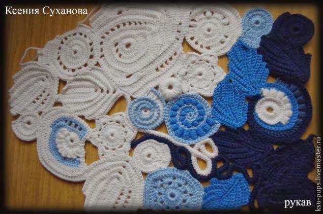 Chaqueta de otoño caliente con el acolchado forro de poliéster Este trabajo incluye crochet y costura. Lo primero es hacer las pi...