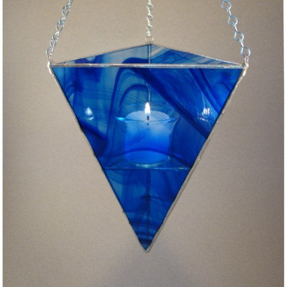 Lantern Stained Glass Hanging Candle Holder Cobalt by wishartglass, $34.00