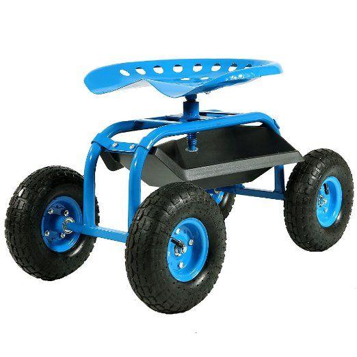 Sunnydaze Blue Rolling Garden Cart With 360 Degree Swivel Seat U0026 Tray