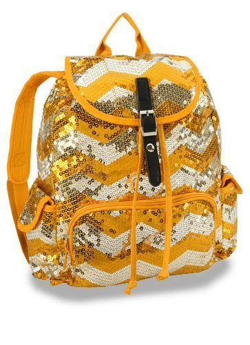 Orange & Silver Chevron Design Sequin Backpack! Bling!!! #Unbranded #Backpack