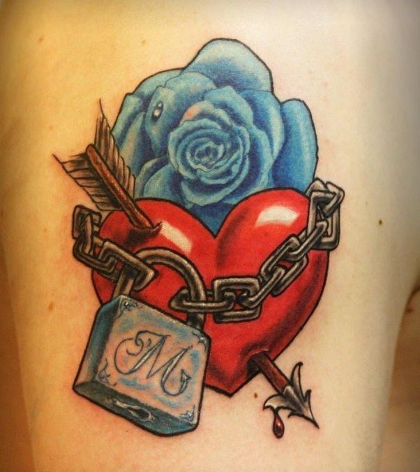 blue rose red heart tattoo - Google Search