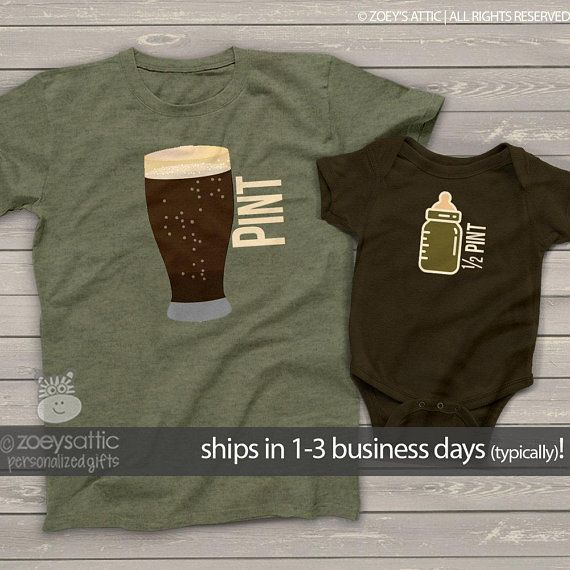 Pint /& Half Pint Baby Bodysuit /& Mens Shirt Matching Set Father /& Child Outfit