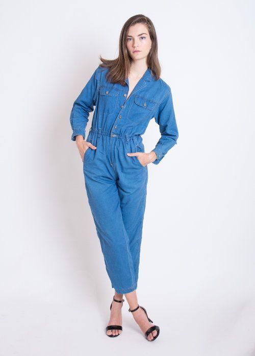 Vintage Denim Blue Jean Jumpsuit Coveralls