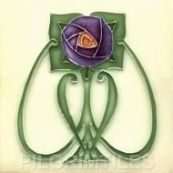 Mackintosh Blue Rose Art Nouveau / Arts & Crafts Tile Mac 2