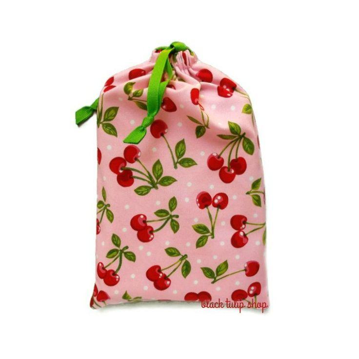 Planner Bag Pouch Sweet Cherries Cherry Pastel Pink Kawaii Retro Fabric Drawstring Bag Pouch for Planners Notebooks Fabric Gift Bag Storage by blacktulipshop on Etsy