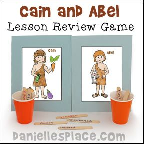Cain and Abel Bible Lesson Review Game from www.daniellesplace.com - Children decide which cup the craft stick with a decriptive word on it belongs in.