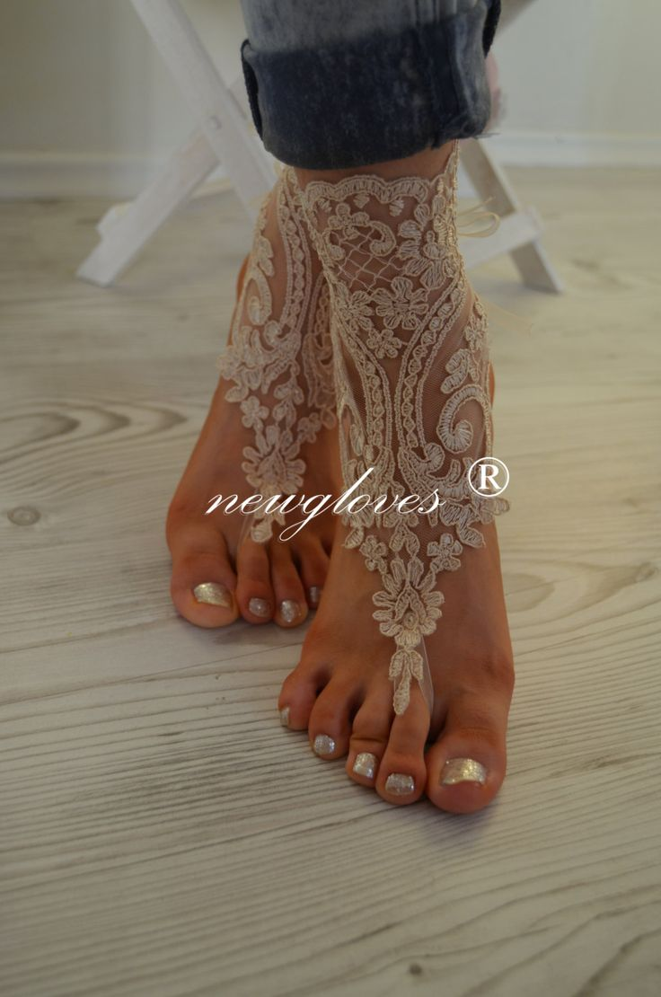 Champagne french lace sandals wedding anklet Beach by newgloves, $25.00