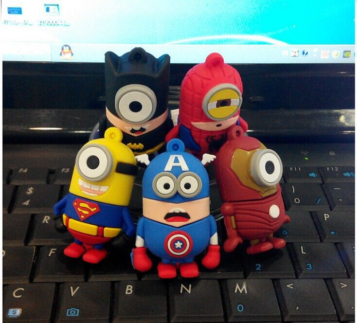 1GB 2GB 4GB 16GB 8GB 32GB 64GB Wholesale Spider superman Iron Batman Minions pendrive thumb Memory Stick 2.0 USB Flash drive